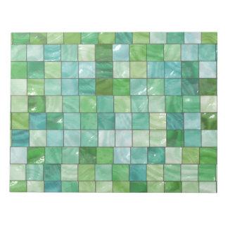 青緑のプールのタイルの大理石パターン ノートパッド