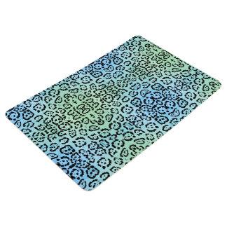 青緑のベンガルヤマネコ動物の油性ペイントの効果 フロアマット