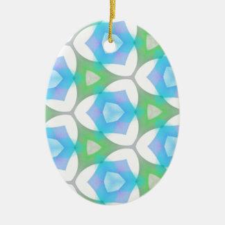 青緑のモダンで幾何学的なフラクタル セラミックオーナメント