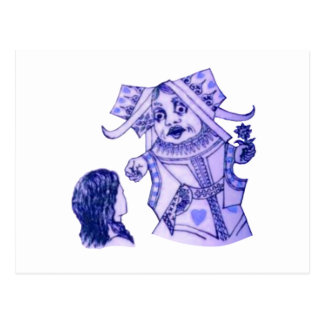 青緑のルイス・キャロル著アリス及び女王 ポストカード