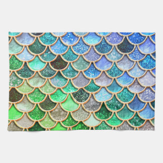 青緑の光沢があるグラデーションなグリッターの人魚のスケール キッチンタオル