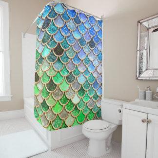 青緑の光沢があるグラデーションなグリッターの人魚のスケール シャワーカーテン