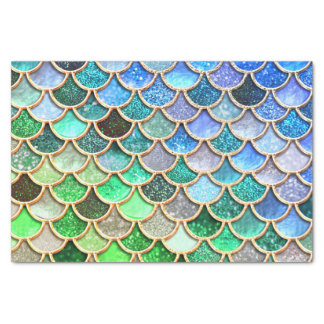 青緑の光沢があるグラデーションなグリッターの人魚のスケール 薄葉紙