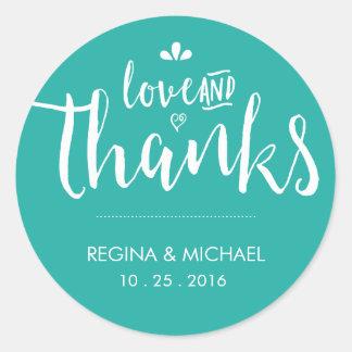 青緑の原稿の結婚式はステッカー感謝していしています ラウンドシール