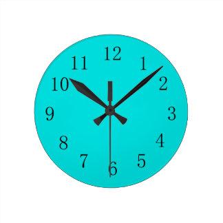 青緑の台所柱時計 ラウンド壁時計