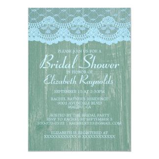 青緑の国のレースのブライダルシャワー招待状 カード
