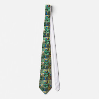 青緑の孔雀の写真のコラージュ ネクタイ