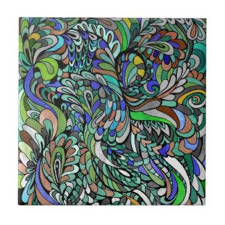 青緑の孔雀の多彩でファンキーなペイズリーの芸術 タイル