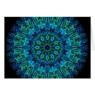 青緑の宝石の万華鏡のように千変万化するパターン カード