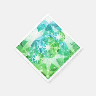 青緑の宝石用原石のコンパスのラインストーンの一見 スタンダードカクテルナプキン