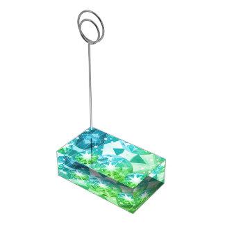 青緑の宝石用原石のコンパスのラインストーンの一見 テーブルカードホルダー