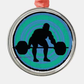 青緑の強い人の重量挙げ選手 シルバーカラー丸型オーナメント