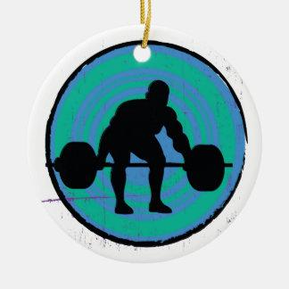 青緑の強い人の重量挙げ選手 セラミックオーナメント