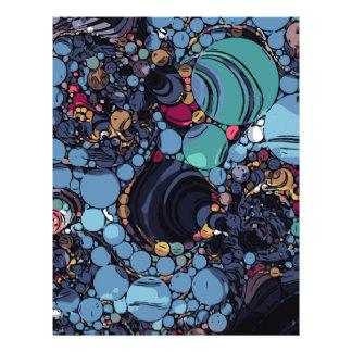 青緑の抽象芸術の円パターン レターヘッド