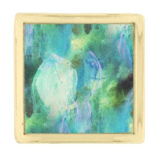 青緑の抽象芸術の葉の折りえりピン ゴールド ラペルピン