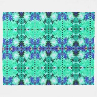 青緑の抽象芸術パターン フリースブランケット