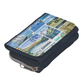 青緑の景色の財布、切手の財布