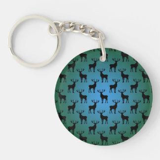 青緑の木びき台のシカパターン キーホルダー