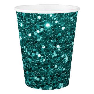 青緑の模造のなグリッターのティール(緑がかった色)の水 紙コップ