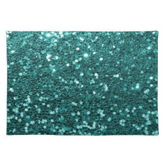 青緑の模造のなグリッターのプリントの水のティール(緑がかった色) ランチョンマット