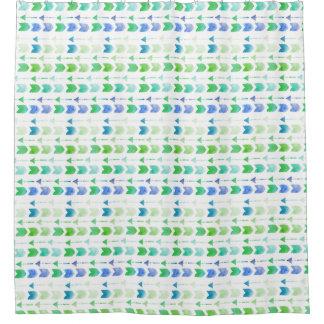 青緑の水彩画の矢の種族のシャワー・カーテン シャワーカーテン