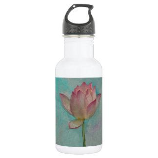 青緑の水彩画の芸術のピンクのはすの花 ウォーターボトル