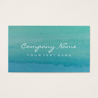 青緑の水彩画の芸術の名刺のデザイン 名刺