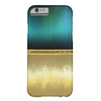 青緑の水彩画の輝きの金ゴールドのデザインの場合 BARELY THERE iPhone 6 ケース