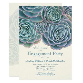 青緑の水気が多い婚約パーティの招待状 カード
