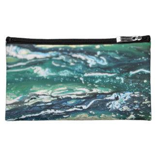 青緑の白いターコイズの抽象芸術のペイントライン コスメティックバッグ