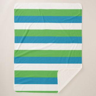 青緑の白のストライプ シェルパブランケット