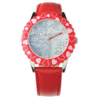 青緑の空の雪の腕時計 腕時計