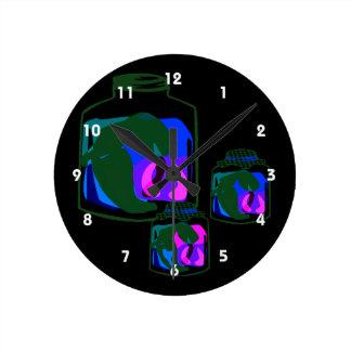 青緑の紫色のコショウの瓶 ラウンド壁時計