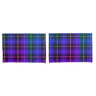 青緑の紫色の電気格子縞の枕箱 枕カバー