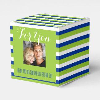 青緑の結婚式の写真1a フェイバーボックス