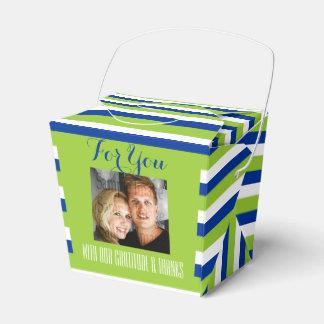 青緑の結婚式の写真3a フェイバーボックス