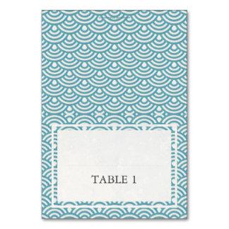青緑の結婚式の波パターン地名カード カード
