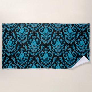 青緑の緑および黒いダマスク織のプリント ビーチタオル
