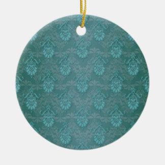 青緑の緑のダマスク織パターン セラミックオーナメント