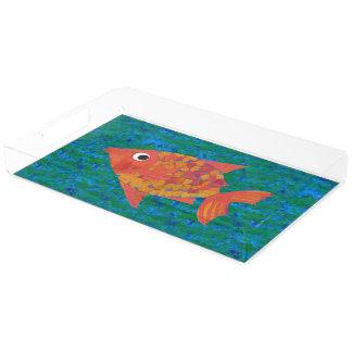 青緑の背景の大きくお洒落な魚 アクリルトレー