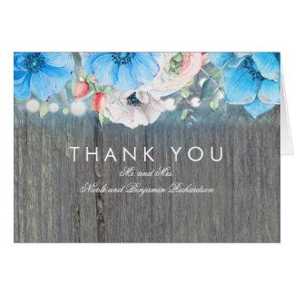 青緑の花の素朴な結婚式は感謝していしています カード