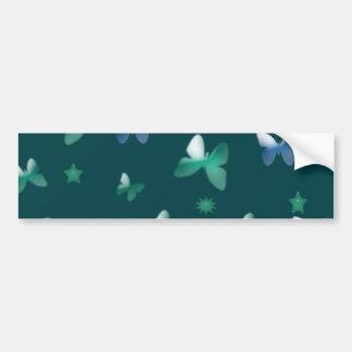 青緑の蝶のダンス バンパーステッカー