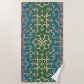 青緑の金ゴールドの曼荼羅パターン ビーチタオル