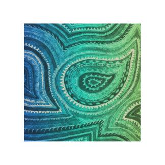 青緑の金ゴールドのBohoのペイズリーパターン ウッドウォールアート