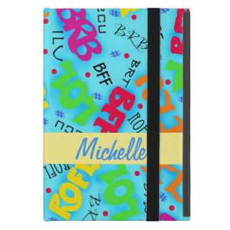 青緑の電子メールや文字を打つの芸術の省略 iPad MINI ケース