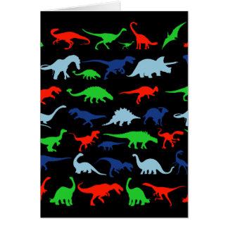 青緑恐竜パターンおよび黒の赤 カード
