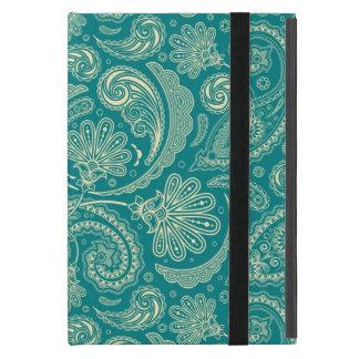 青緑色およびベージュクリームヴィンテージのペイズリー iPad MINI ケース
