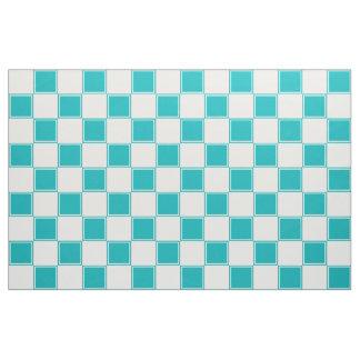 青緑色および白く大きいチェック模様の生地 ファブリック