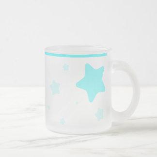 青緑色つばが付いている星明かりのマグ- フロストグラスマグカップ