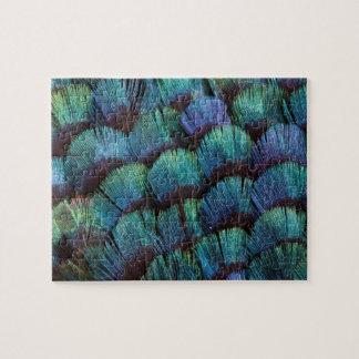 青緑色のキジの羽のデザイン ジグソーパズル